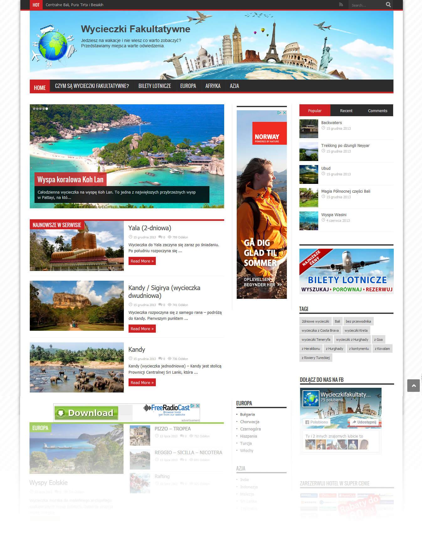 Portal podróżniczy<div style='clear:both;width:100%;height:0px;'></div><span class='cat'>Strony Turystyczne, WordPress</span>